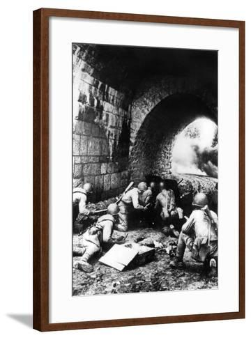 Russian Soldiers in Action Near Riga, Latvia, 1944--Framed Art Print