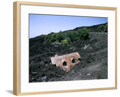 House Destroyed by Lava Flow, Mount Etna, Sicily, Italy-Peter Thompson-Framed Art Print