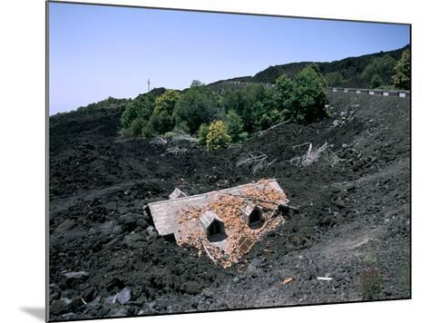 House Destroyed by Lava Flow, Mount Etna, Sicily, Italy-Peter Thompson-Mounted Photographic Print
