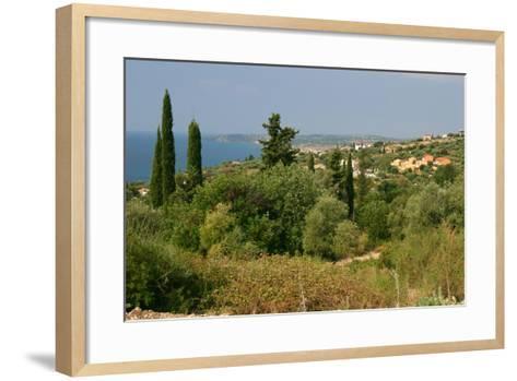 Distant View of Lourdas, Kefalonia, Greece-Peter Thompson-Framed Art Print