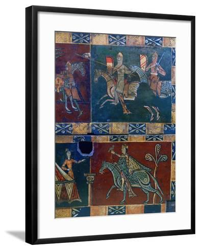 Knights on Horseback and King with a Falcon, 12th Century--Framed Art Print