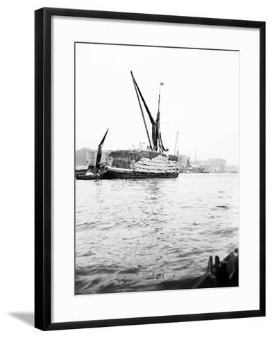 Topsail Barge on the Thames with its Top Mast Lowered, London, C1905--Framed Art Print