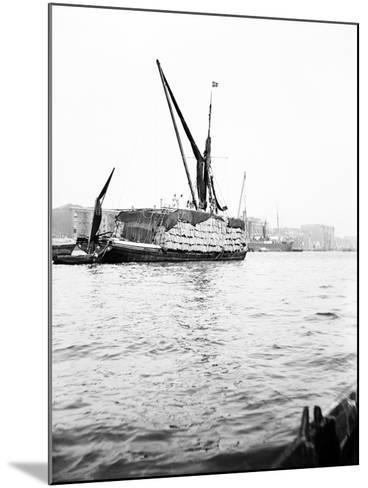 Topsail Barge on the Thames with its Top Mast Lowered, London, C1905--Mounted Photographic Print