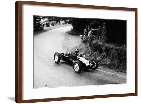 A Racing Driver Speeding Round a Bend, Harleyford Hill Climb, Buckinghamshire, (C1950-C1960)--Framed Art Print