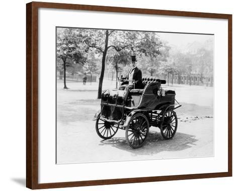 Roger Wallace in His Electric Car, 1899--Framed Art Print