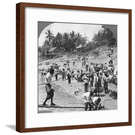 Passengers Embarking on an Irrawaddy Steamer, Mada, Rangoon, Burma, 1908--Framed Art Print
