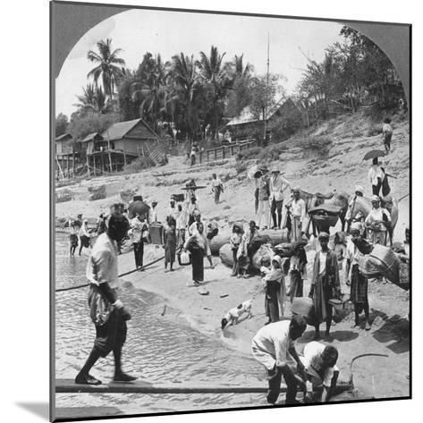Passengers Embarking on an Irrawaddy Steamer, Mada, Rangoon, Burma, 1908--Mounted Photographic Print