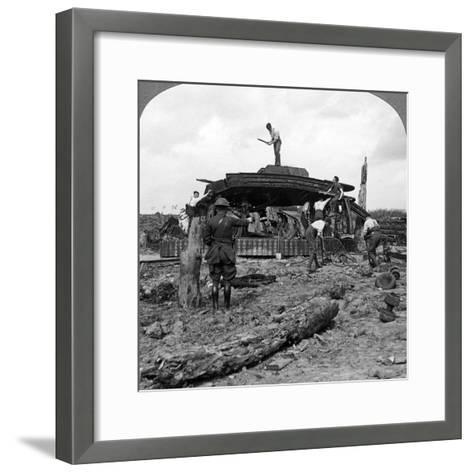Engineers Clearing a Destroyed Tank from a Road, World War I, 1917-1918--Framed Art Print