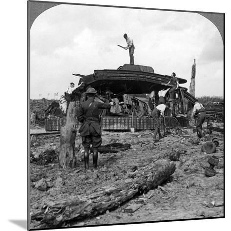 Engineers Clearing a Destroyed Tank from a Road, World War I, 1917-1918--Mounted Photographic Print