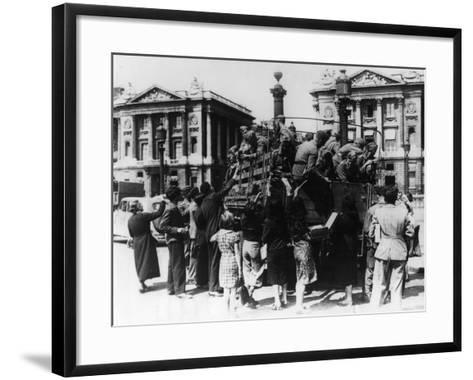 French Street Sellers Offering Souvenirs to a Truckload of German Soldiers, Paris, 27 July 1940--Framed Art Print