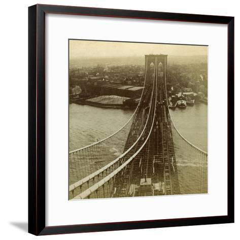 Brooklyn from One of the Towers of the Suspension Bridge, New York, USA--Framed Art Print
