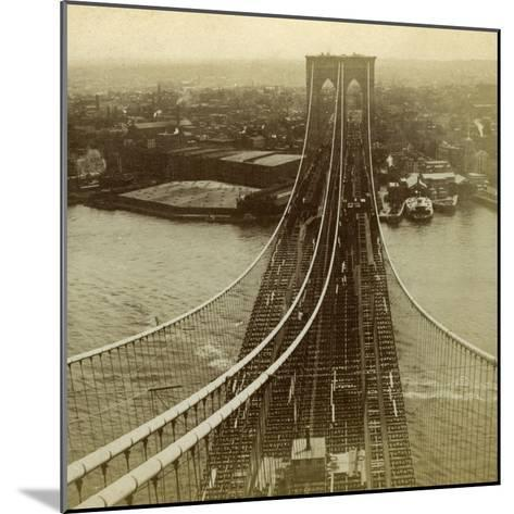 Brooklyn from One of the Towers of the Suspension Bridge, New York, USA--Mounted Photographic Print