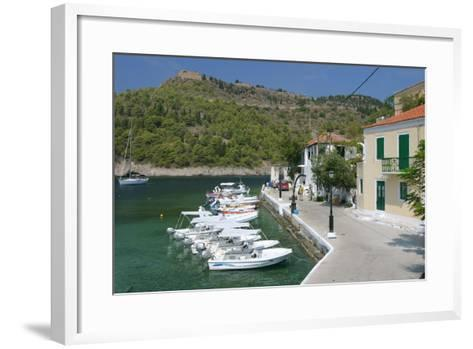 Boats at the Quayside, Assos, Kefalonia, Greece-Peter Thompson-Framed Art Print