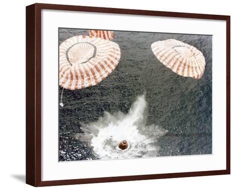 The Apollo 15 Capsule Lands Safely Despite a Parachute Failure, Mid-Pacific Ocean, 1971--Framed Art Print