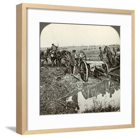 Removing a Field Gun from a Flooded Position, World War I, 1914-1918--Framed Art Print
