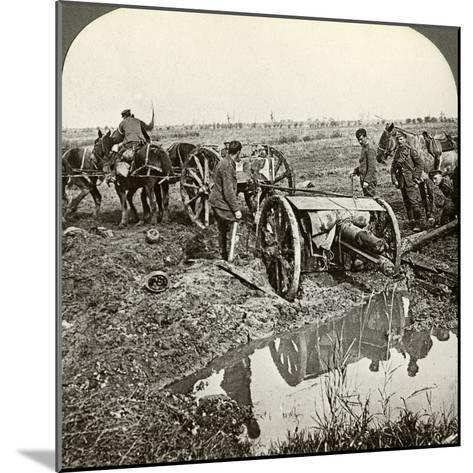 Removing a Field Gun from a Flooded Position, World War I, 1914-1918--Mounted Photographic Print
