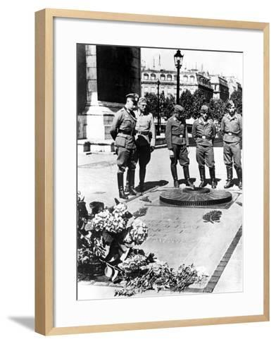 German Soldiers at the Tomb of the Unknown Soldier at the Arc De Triomphe, Paris, December 1940--Framed Art Print