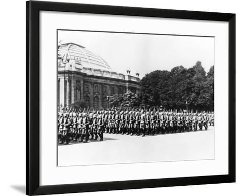 German Troops Parading before the German Commandant of Paris, 8 July 1941--Framed Art Print