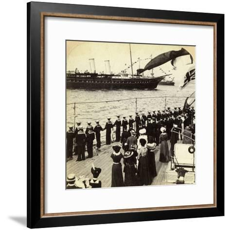 Royal Yacht Passing the Battleship HMS Nile, Coronation Review, Spithead, Hampshire, 1902-Underwood & Underwood-Framed Art Print