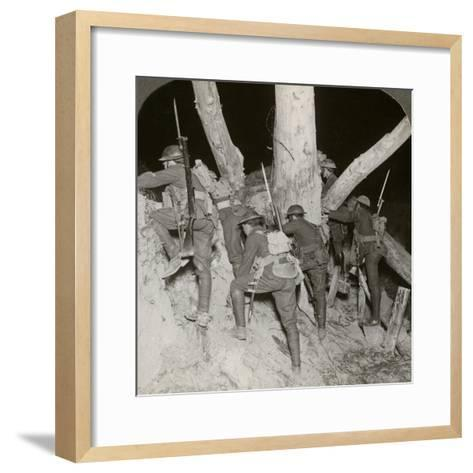 Soldiers Leaving a Trench for a Night Raid at Messines, Belgium, World War I, 1914-1918--Framed Art Print