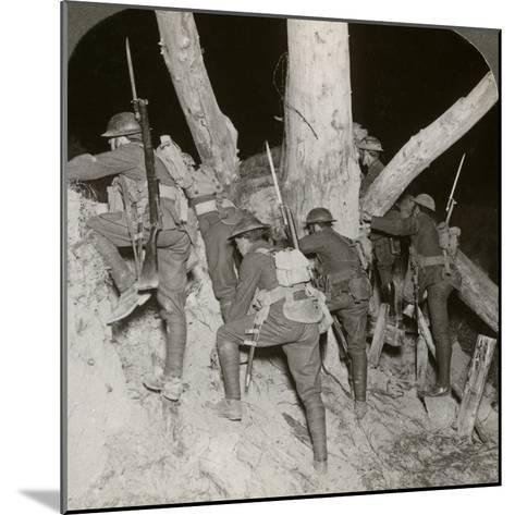 Soldiers Leaving a Trench for a Night Raid at Messines, Belgium, World War I, 1914-1918--Mounted Photographic Print