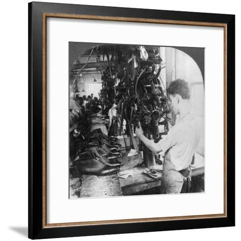 Lasting Machine Shaping Shoes in Shoe Factory, Lynn, Massachusetts, USA, Early 20th Century--Framed Art Print