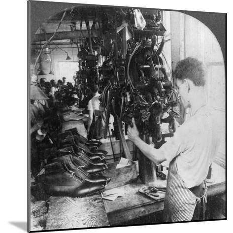 Lasting Machine Shaping Shoes in Shoe Factory, Lynn, Massachusetts, USA, Early 20th Century--Mounted Photographic Print