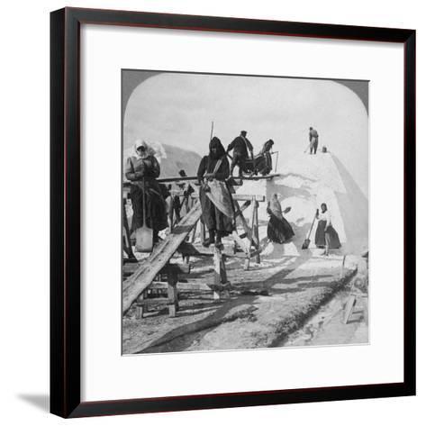 Stacking Salt in the Great Salt Fields of Solinen, Black Sea, Russia, 1898-Underwood & Underwood-Framed Art Print