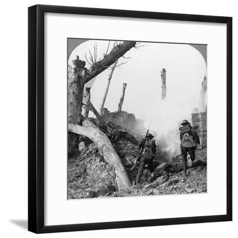 British Troops Attacking Germans Isolated in a Captured Village, World War I, C1914-C1918--Framed Art Print