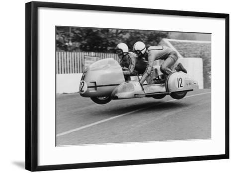 Sidecar TT Race, Isle of Man, 1970--Framed Art Print