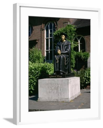 Statue of Sir Thomas More in Front of Chelsea Old Church, Cheyne Walk, London-Peter Thompson-Framed Art Print