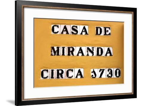 Sign for the Casa De Miranda Circa 1730, Puerto De La Cruz, Tenerife, Canary Islands, 2007-Peter Thompson-Framed Art Print