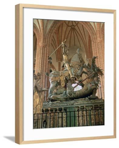 St George and the Dragon Statue, Inside the Storkyrkan Church, Stockholm, Sweden-Peter Thompson-Framed Art Print