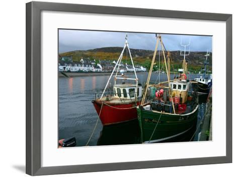 Fishing Boats in Ullapool Harbour at Night, Highland, Scotland-Peter Thompson-Framed Art Print
