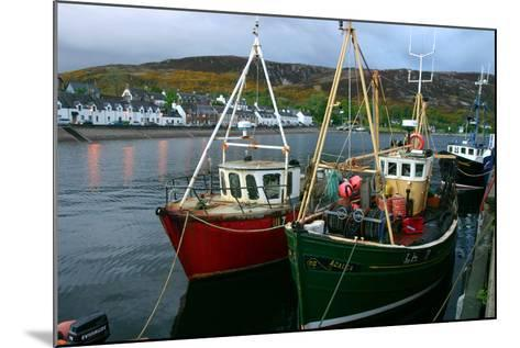 Fishing Boats in Ullapool Harbour at Night, Highland, Scotland-Peter Thompson-Mounted Photographic Print