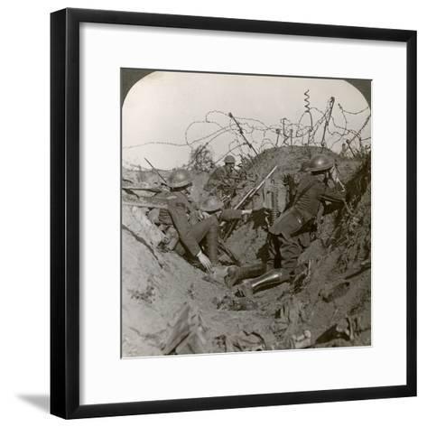 Observation Officer and Signallers Keep a Sharp Lookout, St Quentin, France, World War I, 1914-1918--Framed Art Print