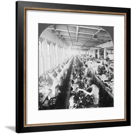 Sewing Room in a Large Shoe Factory, Syracuse, New York, USA, Early 20th Century--Framed Art Print