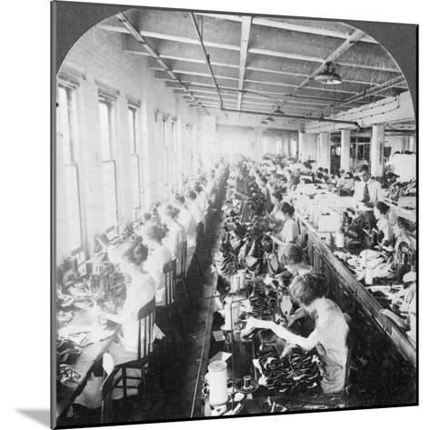 Sewing Room in a Large Shoe Factory, Syracuse, New York, USA, Early 20th Century--Mounted Photographic Print