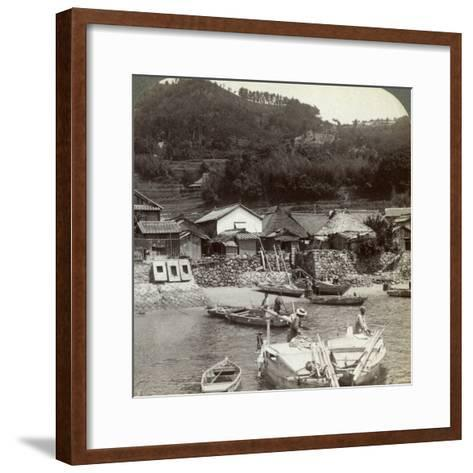 Fishing Village of Obatake on the Inland Sea, Looking North to the Terraced Rice Fields, Japan-Underwood & Underwood-Framed Art Print