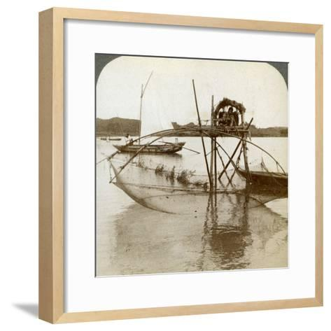 Toiler of the Sea, with His Curious Fishing Net, Bay of Matsushima, Japan, 1904-Underwood & Underwood-Framed Art Print