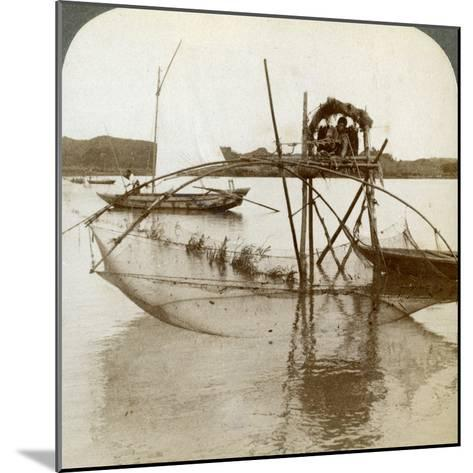 Toiler of the Sea, with His Curious Fishing Net, Bay of Matsushima, Japan, 1904-Underwood & Underwood-Mounted Photographic Print