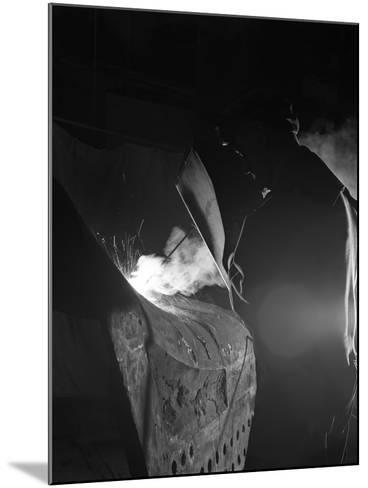 Welding a Dragline Bucket, Edgar Allen Steel Co, Sheffield, South Yorkshire, 1962-Michael Walters-Mounted Photographic Print