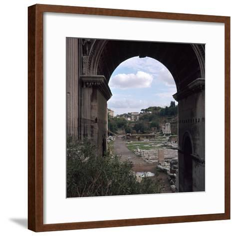 The Roman Forum and Arch of Septimus Severus, 3rd Century-CM Dixon-Framed Art Print