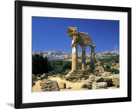 Temple of Diosuri, Agrigento, Sicily, Italy. Agrigento Town Behind-Peter Thompson-Framed Art Print