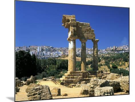 Temple of Diosuri, Agrigento, Sicily, Italy. Agrigento Town Behind-Peter Thompson-Mounted Photographic Print