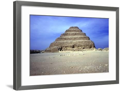 Distant View of the Step Pyramid of King Djoser (Zozer), Saqqara, Egypt, 3rd Dynasty, C2600 Bc- Imhotep-Framed Art Print