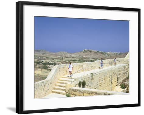 The Path around the Walls of the Citadel, Victoria, Gozo, Malta-Peter Thompson-Framed Art Print