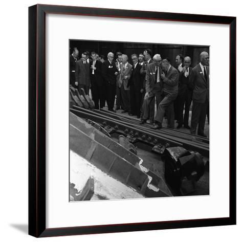 Inspecting a Tram Junction, Made at the Edgar Allen Steel Foundry, Meadowhall, Sheffield, 1962-Michael Walters-Framed Art Print