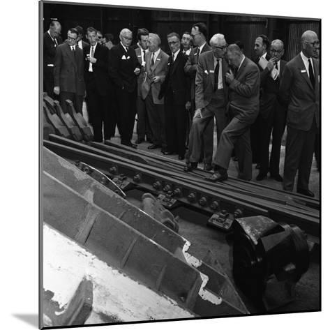 Inspecting a Tram Junction, Made at the Edgar Allen Steel Foundry, Meadowhall, Sheffield, 1962-Michael Walters-Mounted Photographic Print