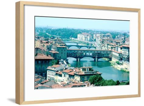 River Arno and Ponte Vecchio from Piazzale Michelangelo, Florence, Italy-Peter Thompson-Framed Art Print